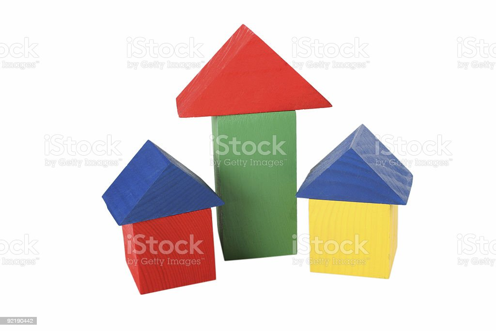 three wood toy houses royalty-free stock photo