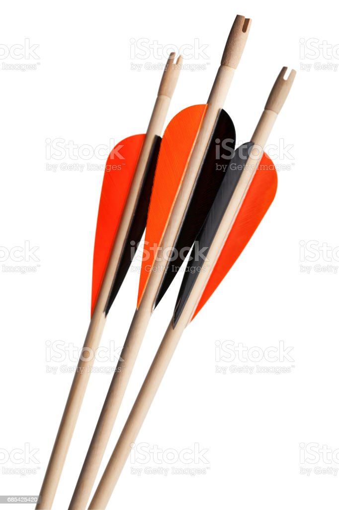 Tres flechas de madera - foto de stock
