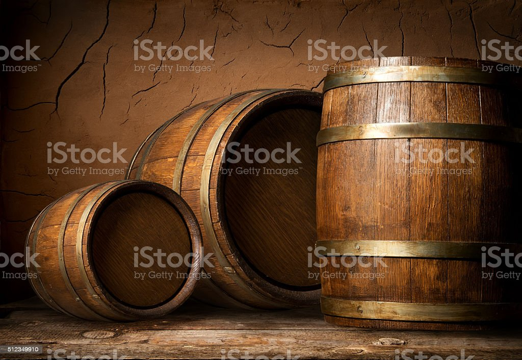 Three wooden barrels stock photo