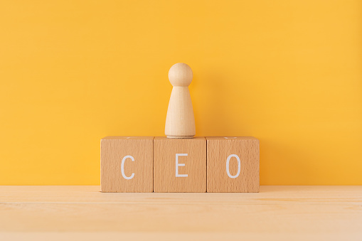 CEO; Three wooden blocks with