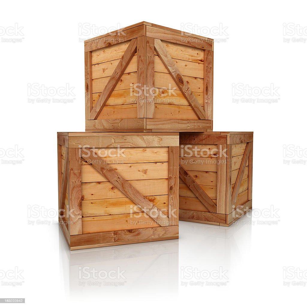 Three wooden boxes stock photo
