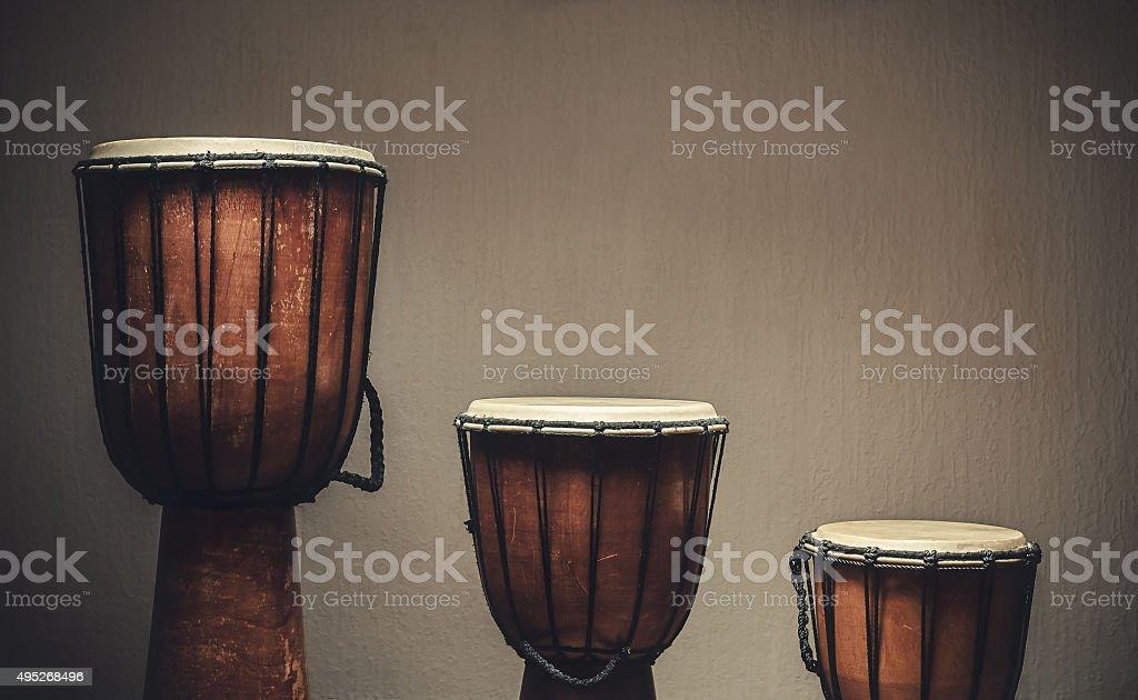 Three Wooden Djembes stock photo