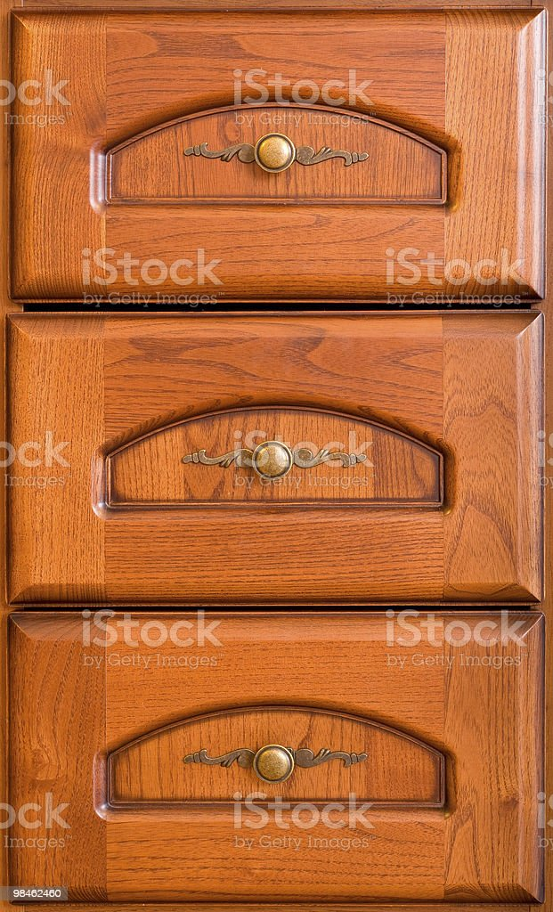 Three wooden drawers royalty-free stock photo