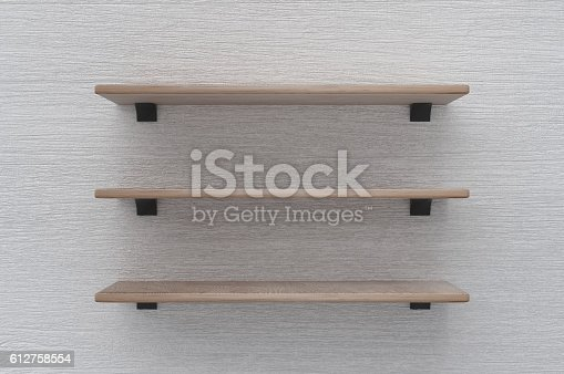 472923810 istock photo Three wooden Layered Shelves 612758554