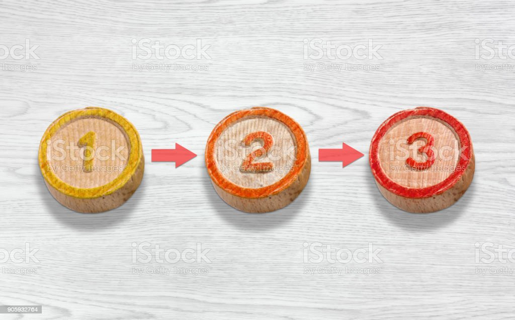 Three Wooden Pieces Depicting the Sequence of Numbers One Two and Three stock photo