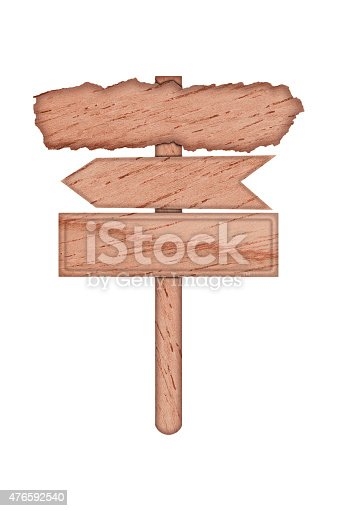 istock Three wooden signs with one pole isolated on white 476592540