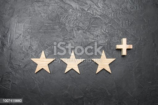 istock Three wooden stars and a plus, on a concrete gray background. The concept of the highest evaluation of quality and service. Better than five stars. Excellent performance and stunning success. 1007415660