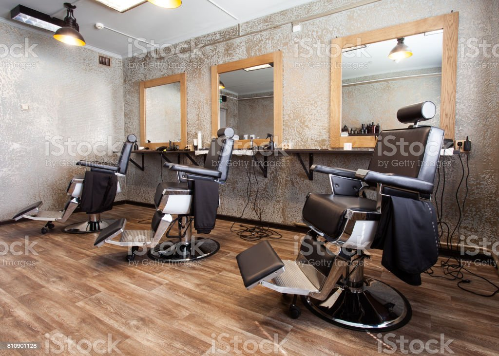 Three workplaces for barbers stock photo