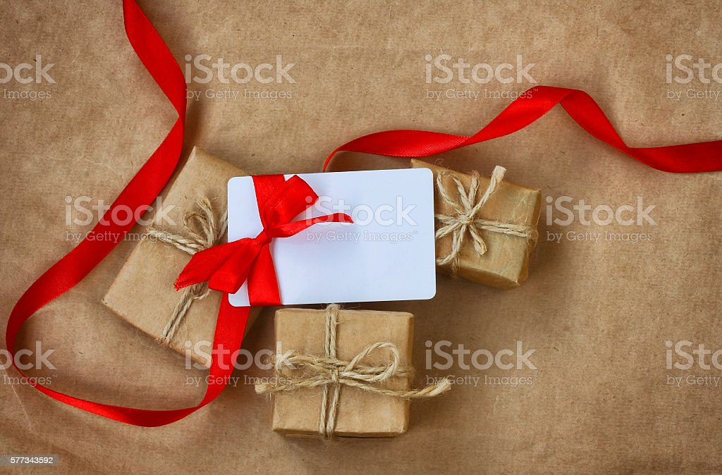 Three wrapped gifts, congratulation card stock photo