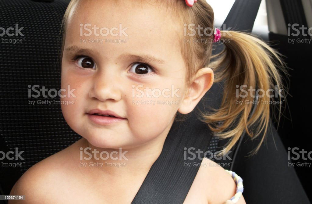 Three year old girl wearing seat belt back of car royalty-free stock photo