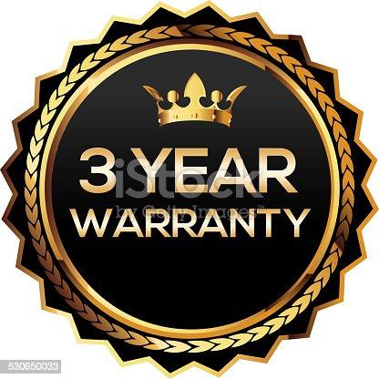 istock Three year warranty gold badge 530650033