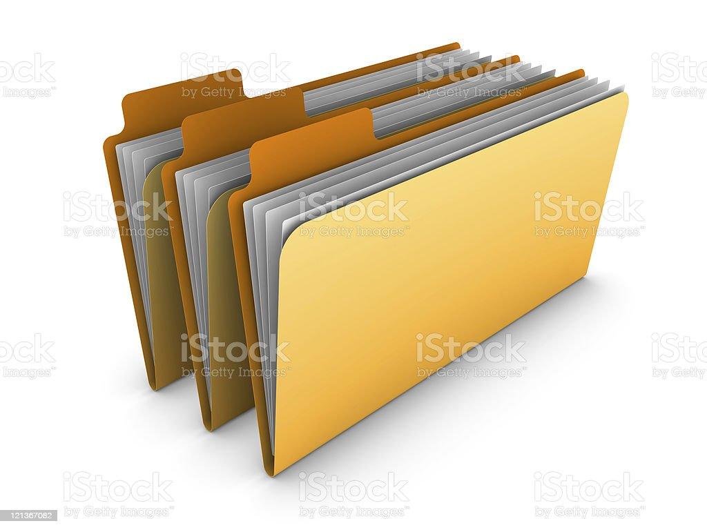 Three Yellow 3D Folders royalty-free stock photo