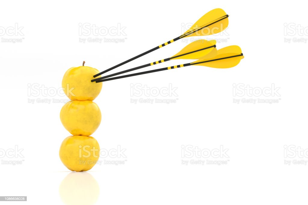 three yellow apples with yellow arrows stock photo
