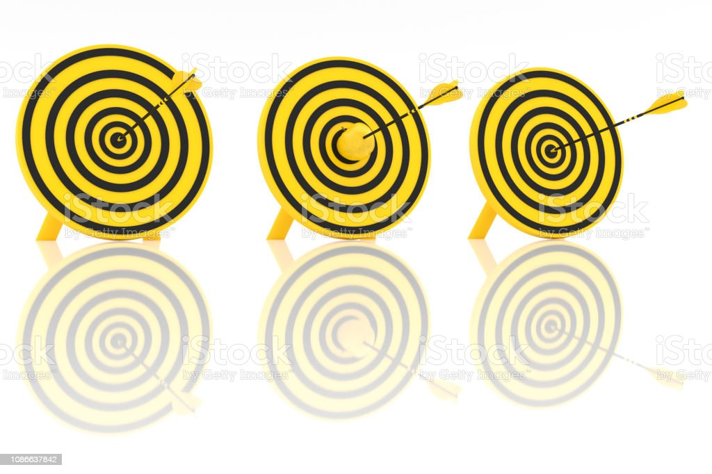 Three yellow arrows and a yellow apple in the center stock photo