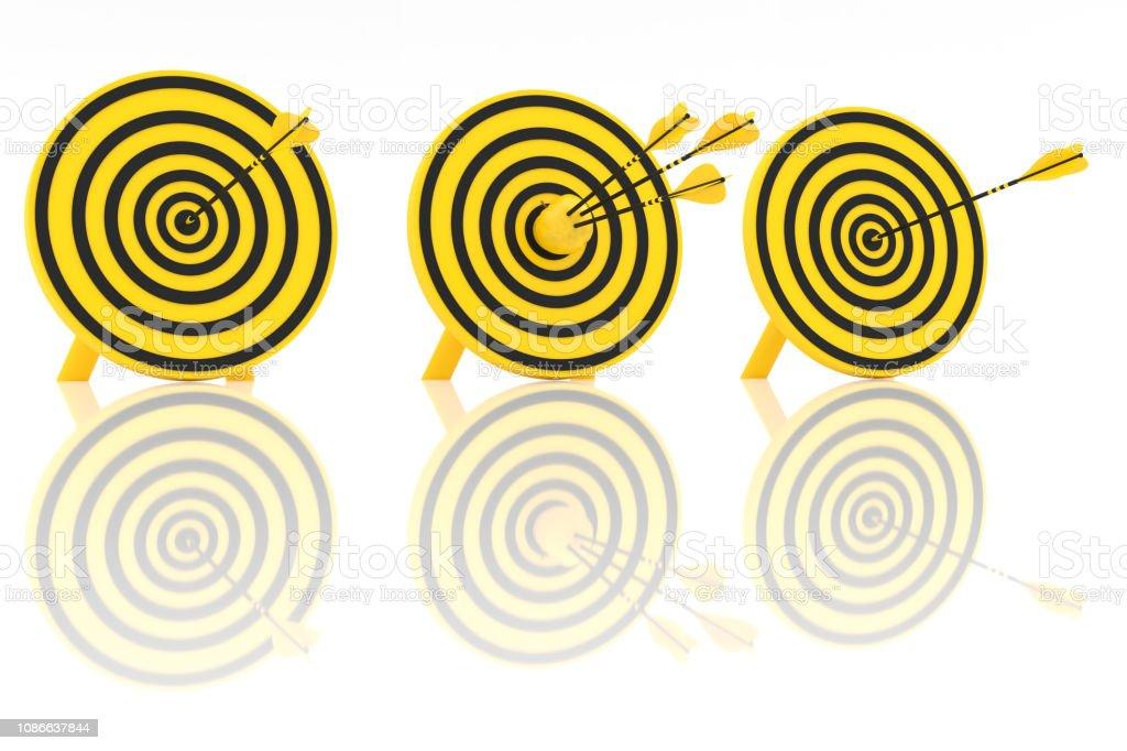 Three yellow arrows and yellow apple stock photo