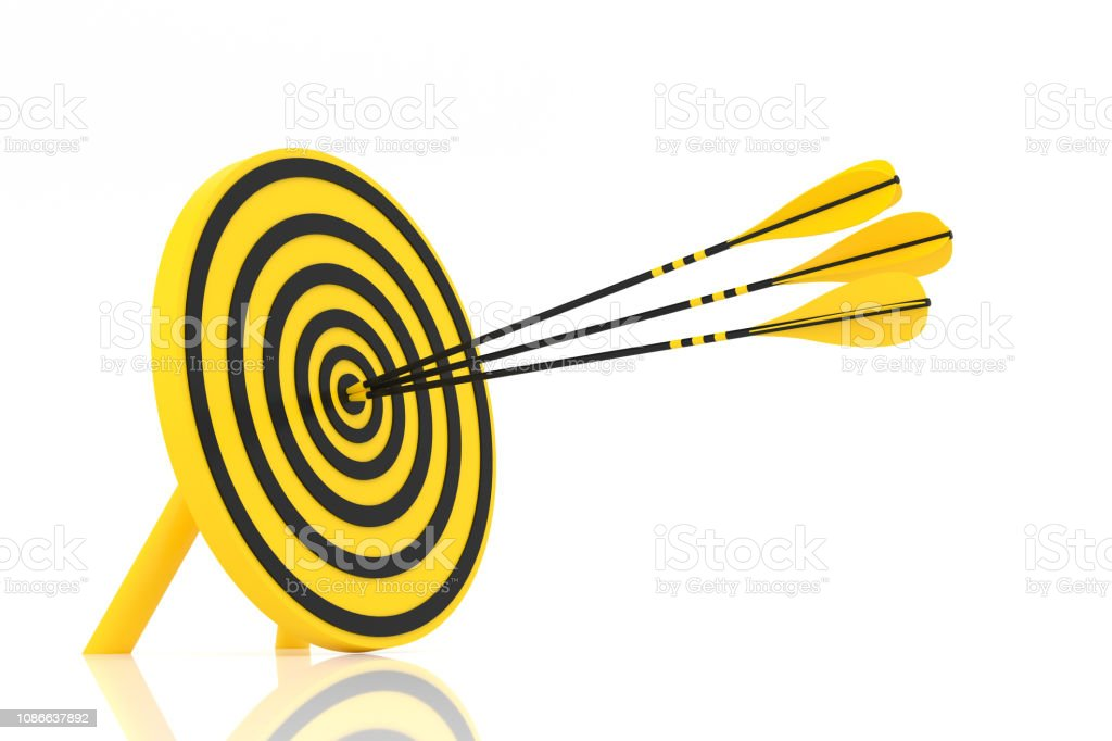 three yellow arrows hit the center stock photo
