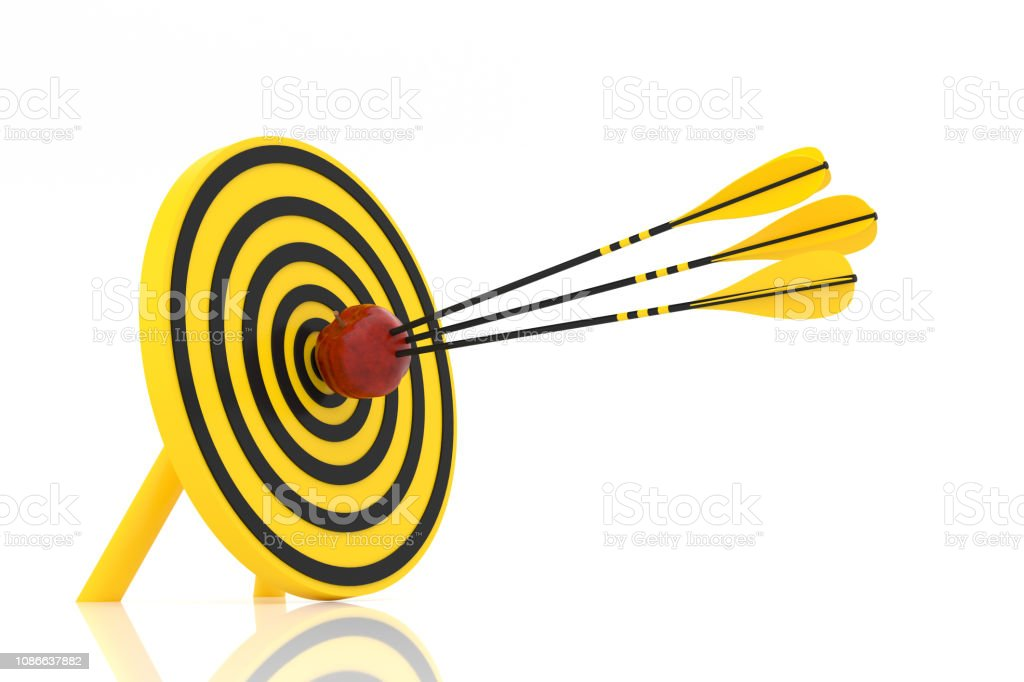 three yellow arrows hit the red apple stock photo