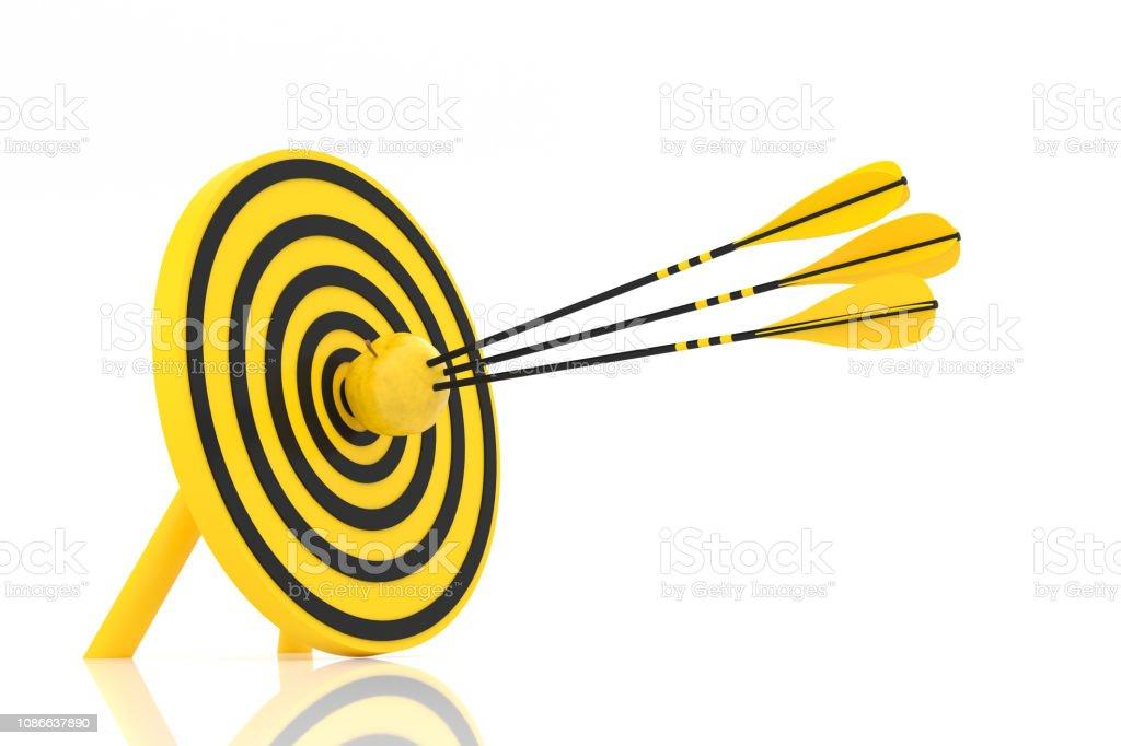 three yellow arrows hit the yellow apple stock photo