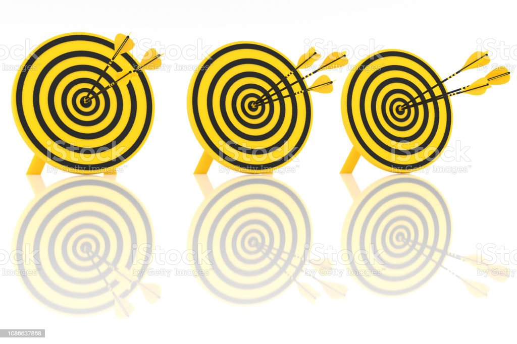 three yellow arrows in the center stock photo