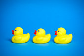 Three yellow bath duck toys for children in a row on blue background.