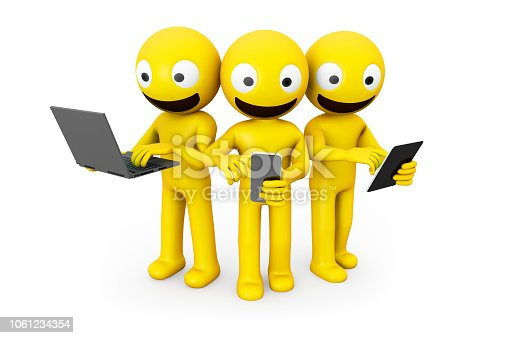 istock three yellow characters using devices 1061234354
