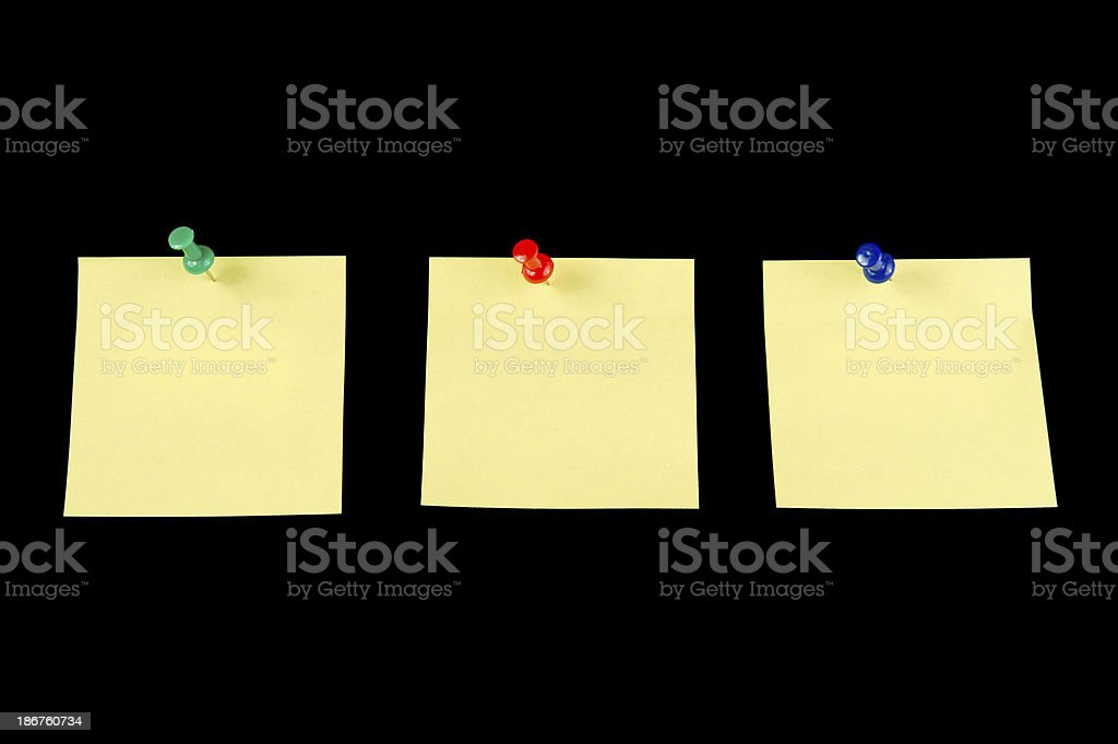 Three Yellow Sticky Note with Pushpin stock photo