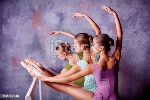 istock Three young ballerinas stretching on the bar 498747646