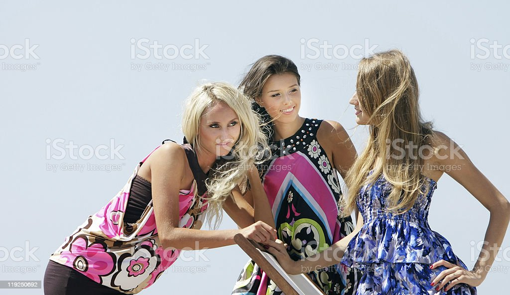 three young beautiful girls outdoors royalty-free stock photo