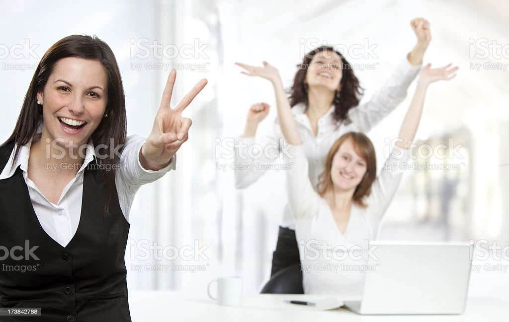 three young business girls team in office royalty-free stock photo