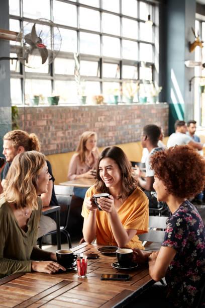 drei junge weibliche freunde treffen sich am tisch im coffee shop und talk - coffee shop stock-fotos und bilder