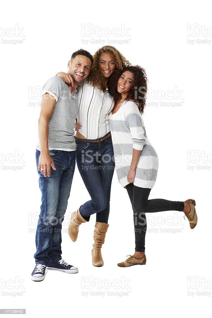 Three young friends having fun stock photo