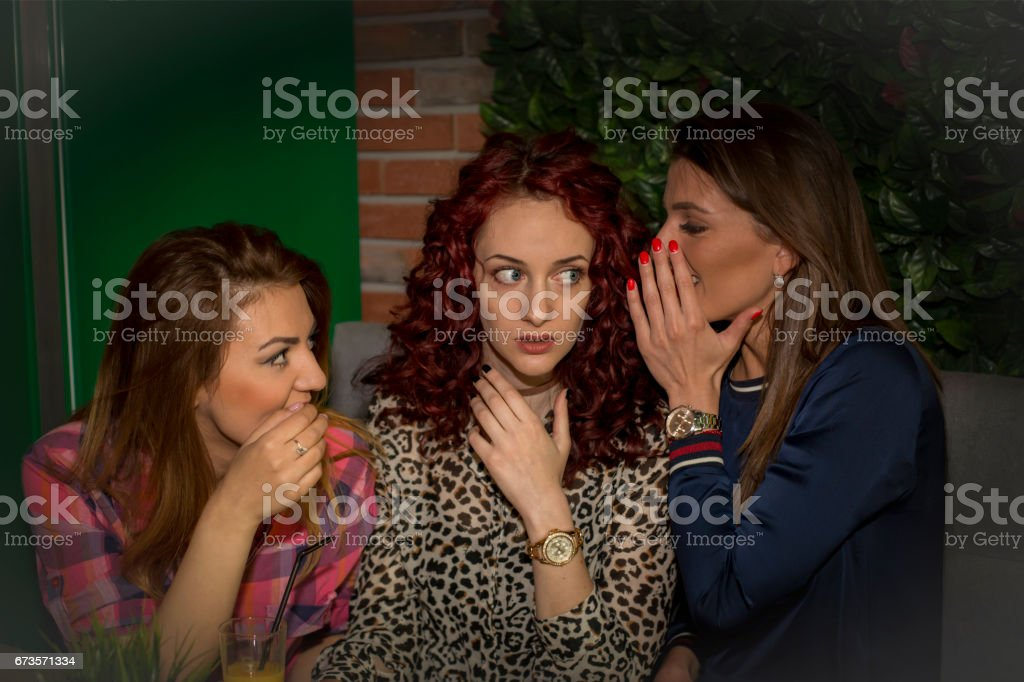 Three young girls at coffee house royalty-free stock photo