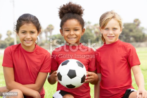 Young Girls In Football Team holding ball