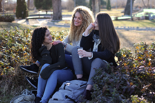 700702502 istock photo Three young happy girls in public park 1211175567