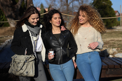 700702502 istock photo Three young happy girls in public park 1211176791