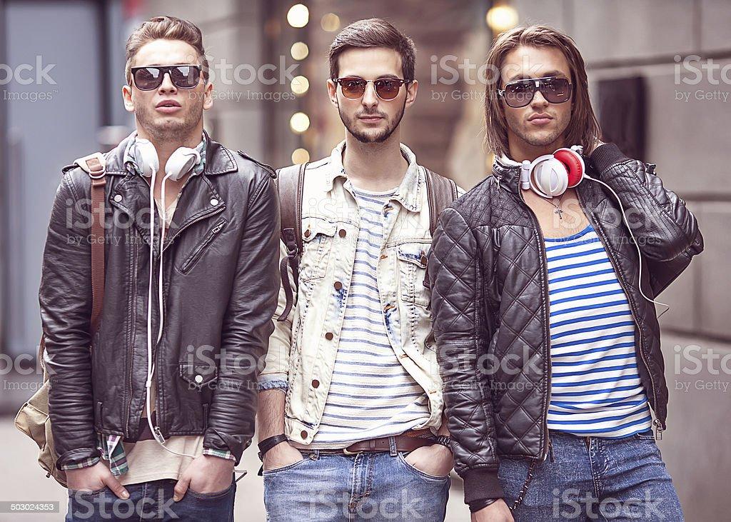 Three Young men fashion stock photo