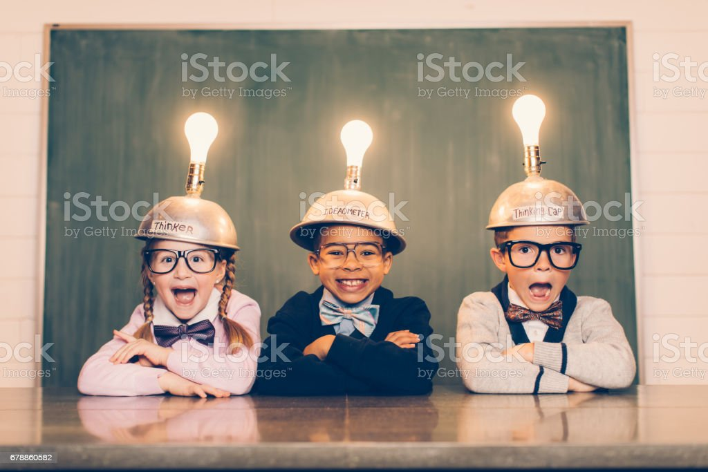 Drei junge Nerds mit schlauen Köpfe Lizenzfreies stock-foto
