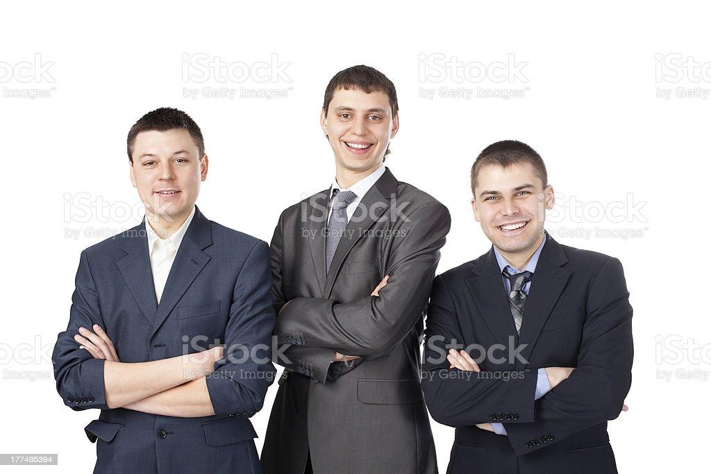 Drei Jungen lächelnd business-Mann stehend, isoliert auf weißem Hintergrund – Foto