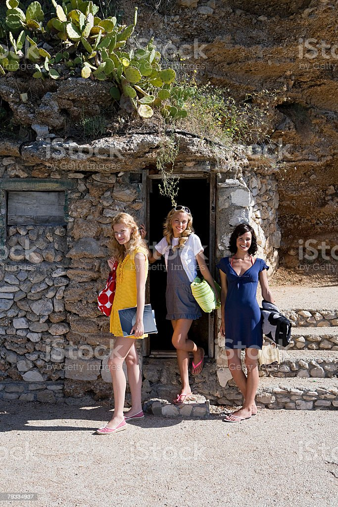 Three young women on vacation 免版稅 stock photo