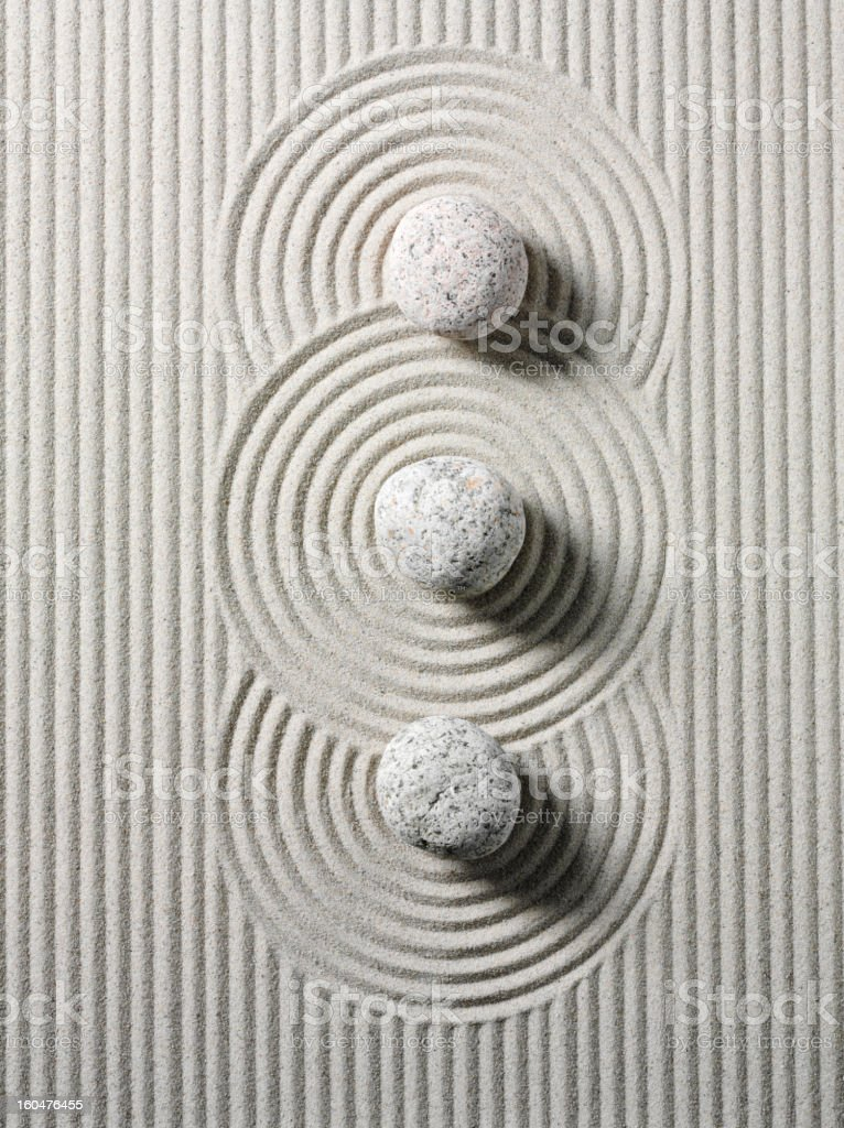 Three Zen Stones and Circles royalty-free stock photo