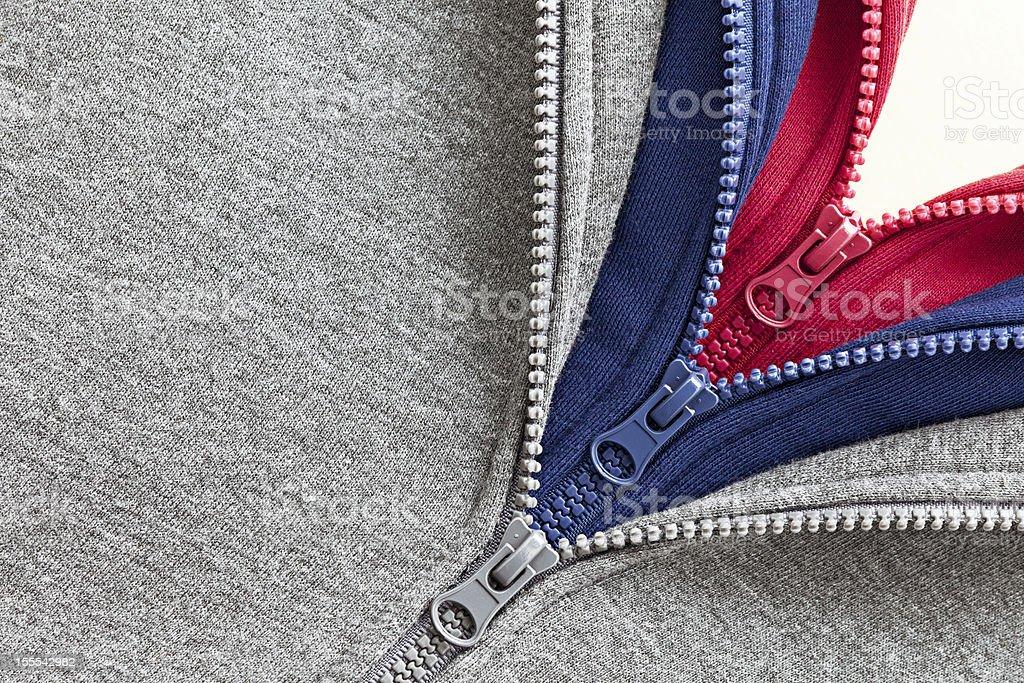 Three zippers stock photo