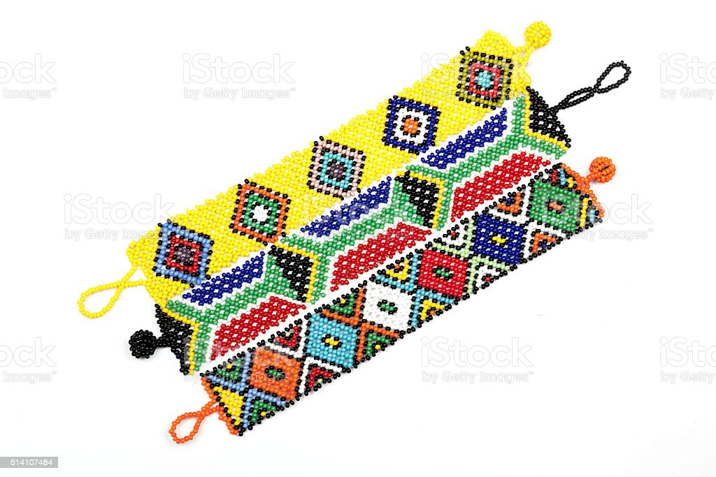 Three Zulu Beaded Bracelets Threaded in Bright Colors stock photo