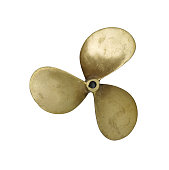 Three-bladed propeller isolated on white background. A new propeller for a small ship