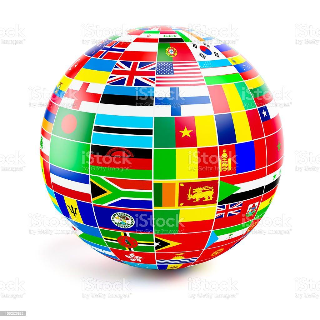 ThreeD ámbito de globo con banderas del mundo sobre blanco - foto de stock