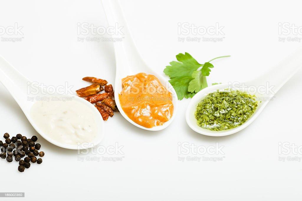 Threedifferent sauces stock photo