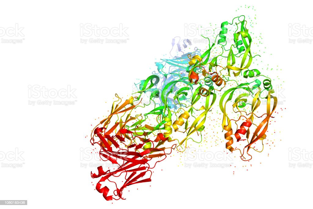 Three-dimensional crystal structure of protein molecule, tumor growth marker. stock photo