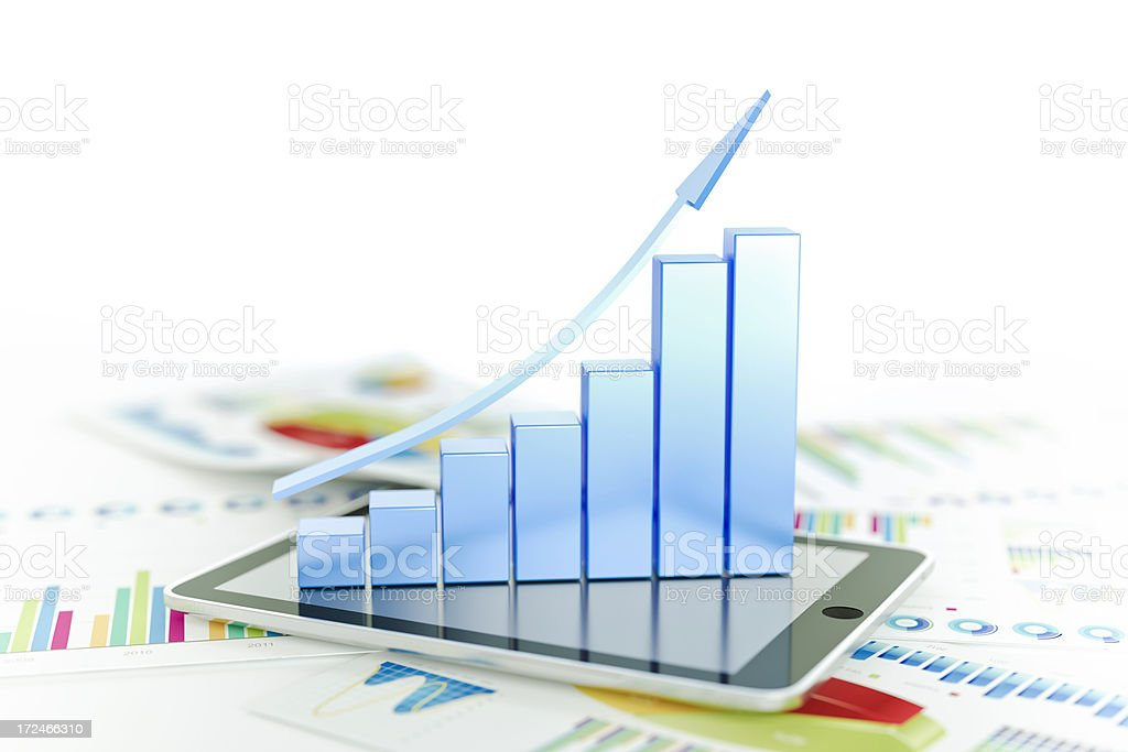 Three-dimensional graph shows business growth stock photo