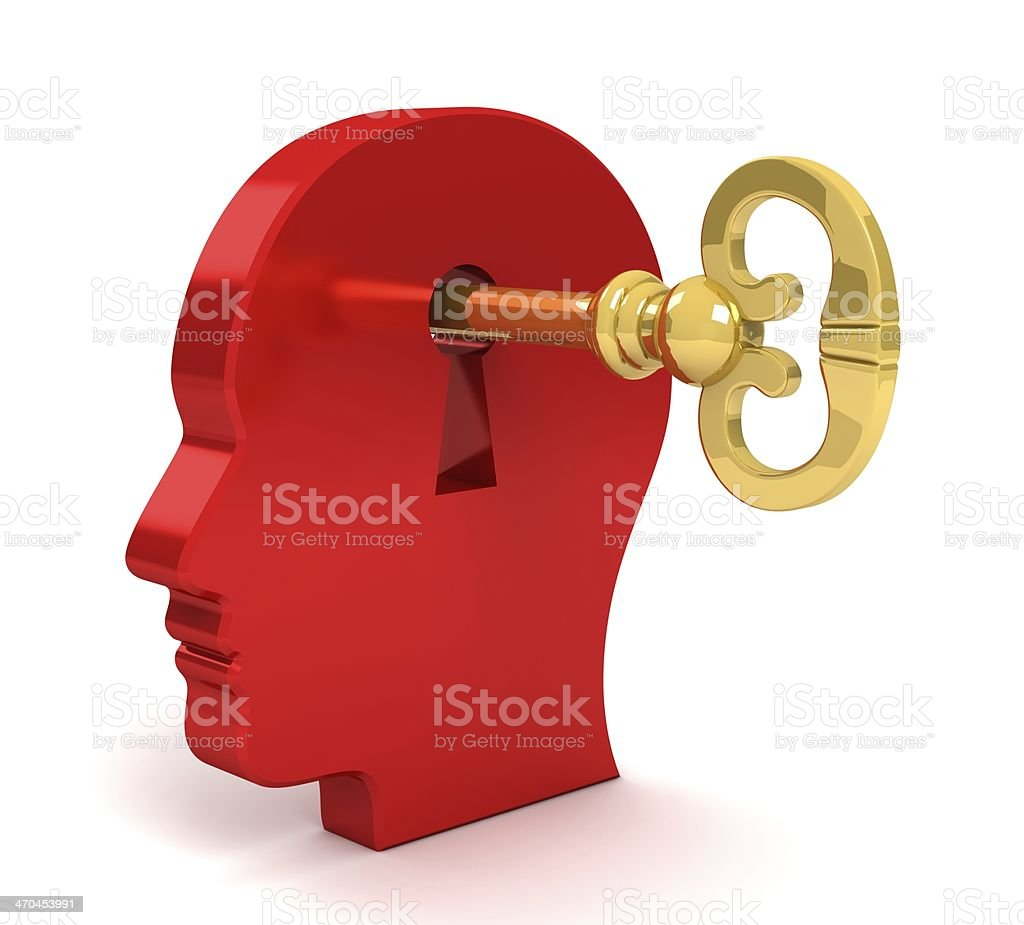 Three-dimensional head with key inserted in keyhole royalty-free stock photo