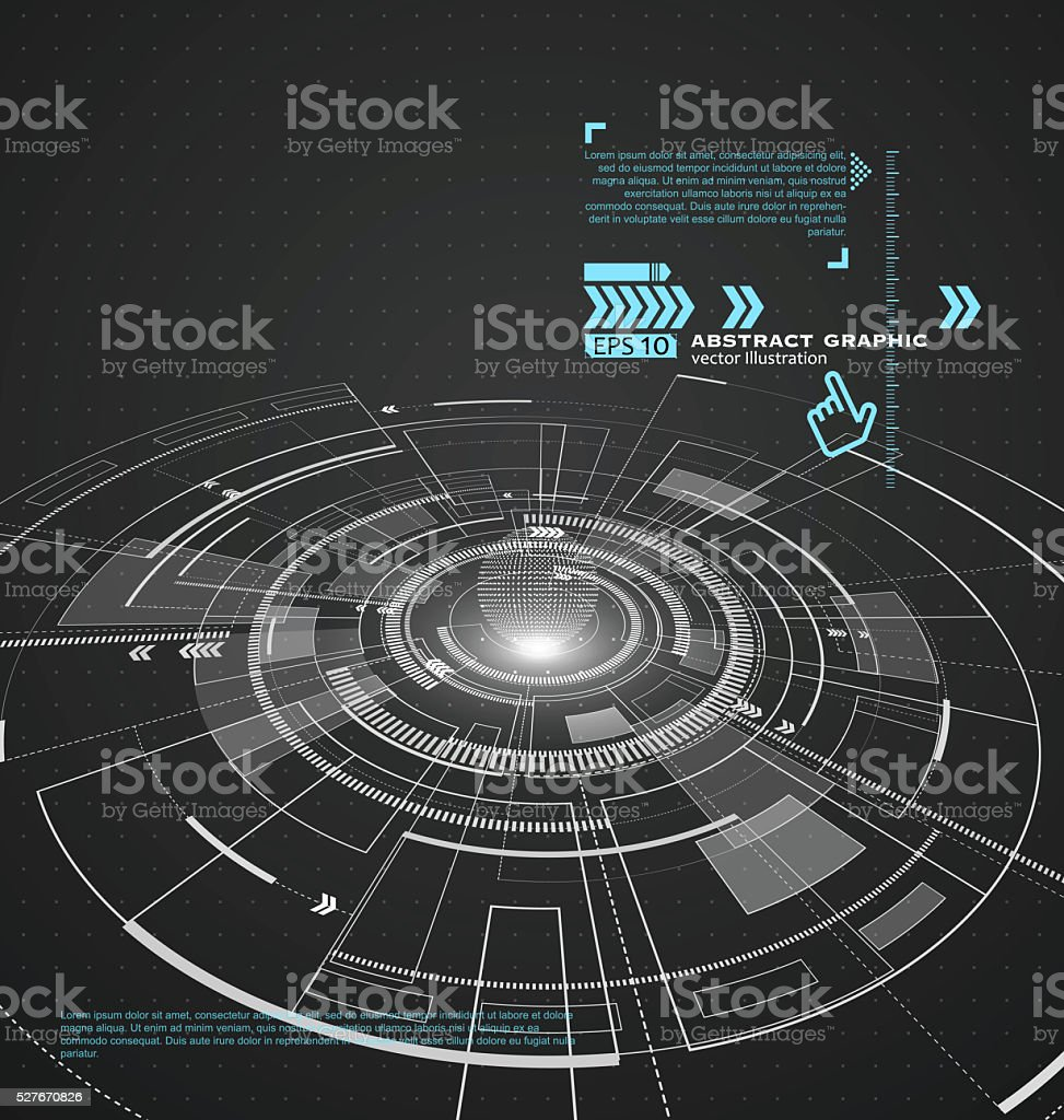Three-dimensional interface technology, science fiction scene. stock photo