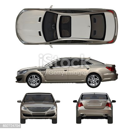 istock Three-dimensional modern gold car 832724704